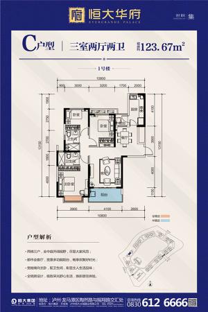 恒大华府1#c户型-3室2厅2卫1厨建筑面积123.67平米
