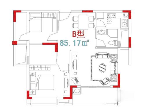 万信星城B户型-2室1厅2卫1厨建筑面积85.17平米