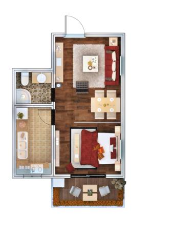 子午美居3号楼D户型-1室2厅1卫1厨建筑面积54.26平米