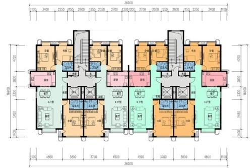 包头市新劝业城住宅二层平面效果图