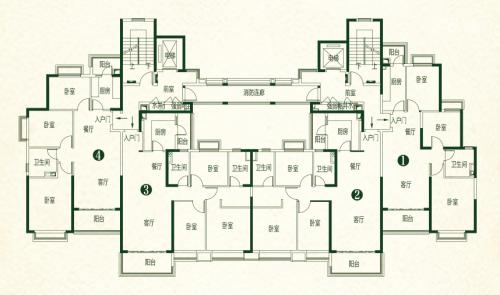 亳州恒大林溪郡12#高层标准层户型图