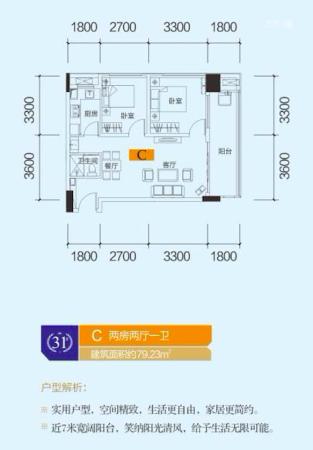 中泰财富湘江公寓户型79