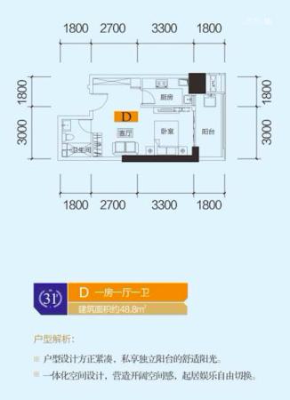 中泰财富湘江公寓户型48