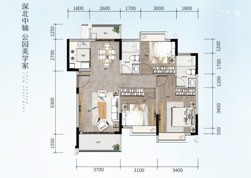 方直星澜102平方 3房2厅2卫