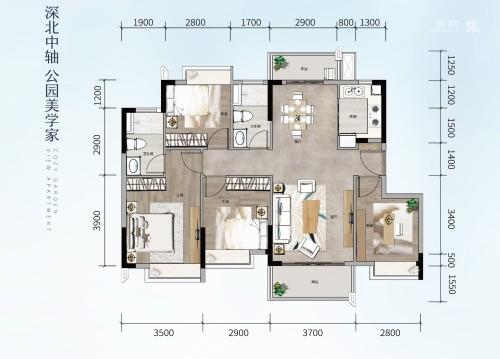 方直星澜117平 4房2厅2卫
