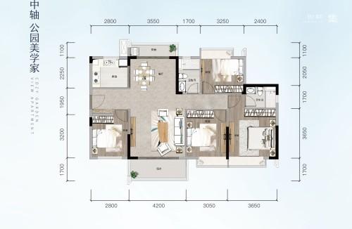 方直星澜130㎡ 4房2厅2卫