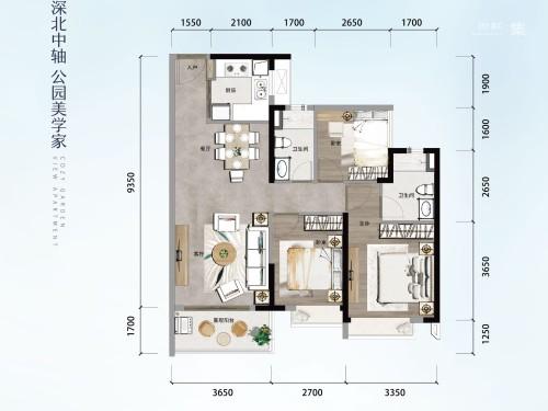 方直星澜101㎡ 3房2厅2卫