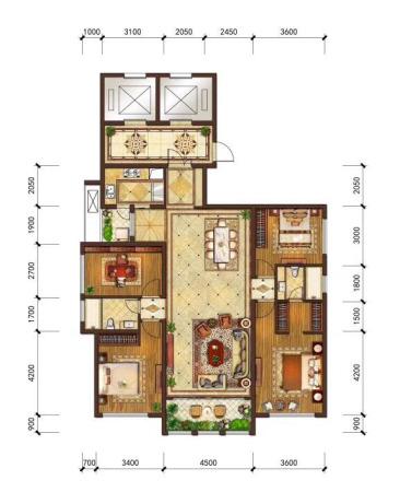 华尔顿12756#、7#楼172㎡户型-4室2厅2卫1厨