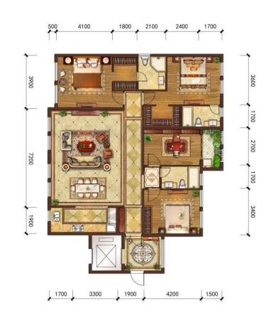 华尔顿12756#、7#楼196㎡户型-4室2厅3卫1厨
