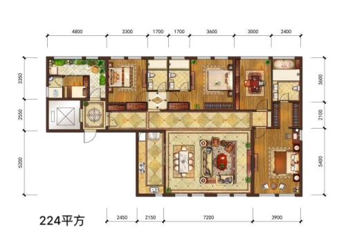 华尔顿12756#、7#楼224㎡户型-5室2厅4卫1厨