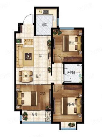 中凯·城市之光2室2厅1卫1厨