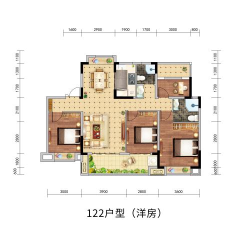 北京城房-珑熙庄园Y3户型-4室2厅2卫-112㎡