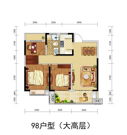 北京城房-珑熙庄园98户型(大高层)-3室2厅1卫-98㎡