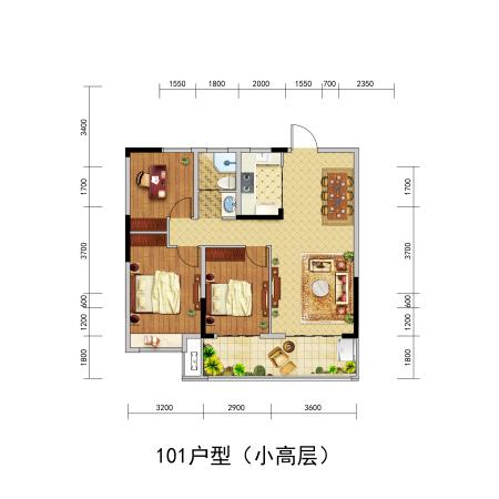 北京城房-珑熙庄园101户型-3室2厅1卫-101㎡