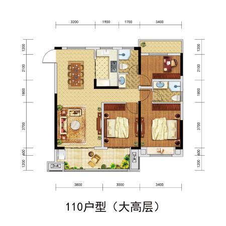 北京城房-珑熙庄园110户型-3室2厅2卫-110㎡