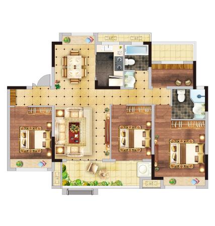 北京城房时代樾府Y3户型-4室2厅2卫-120㎡