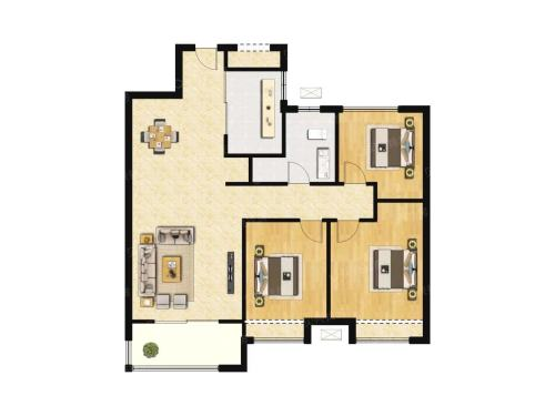 济南中建蔚蓝之城98平 三室二厅二卫