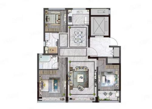 济南绿城明月风荷143平 三室两厅两卫