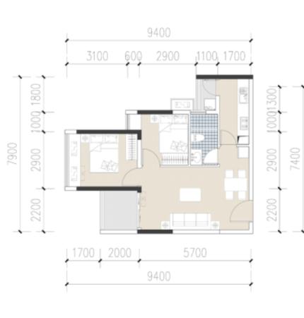 佳兆业壹都汇大厦C户型-68㎡两居室
