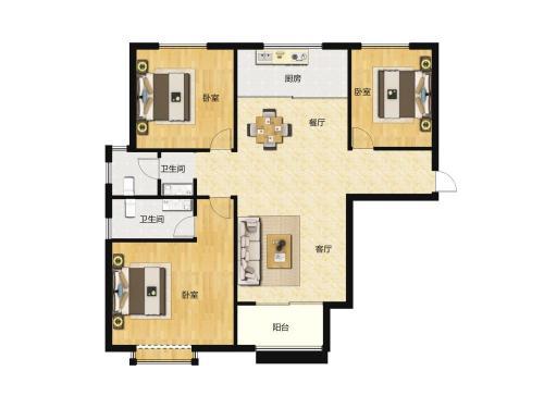 汇侨城3室2厅2卫,F2户型 119平