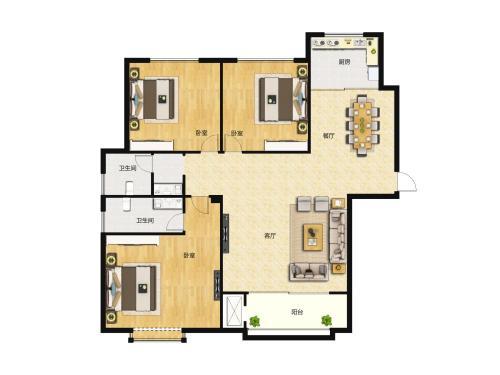 汇侨城4室2厅2卫,E1户型114平