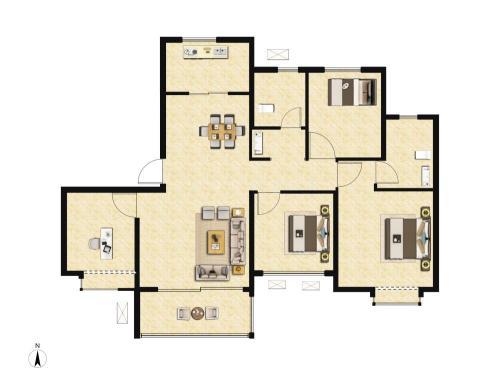 雅居乐锦城4室2厅2卫,131平户型