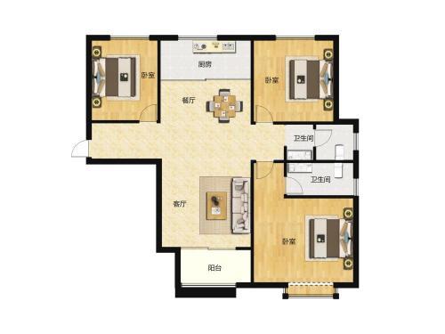 汇侨城3室2厅2卫,F1户型 116平