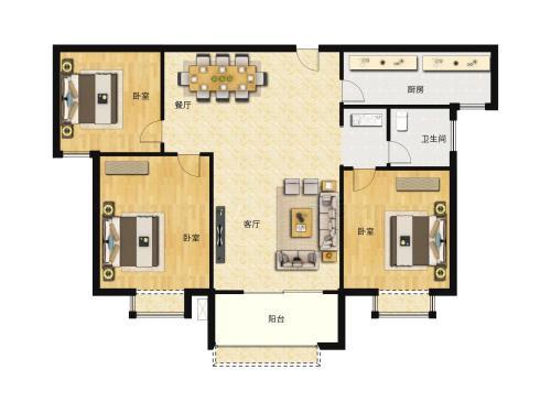 汇侨城3室2厅2卫,F3户型109平