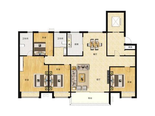 商河碧桂园公园上城4室2厅2卫,140-145㎡户型