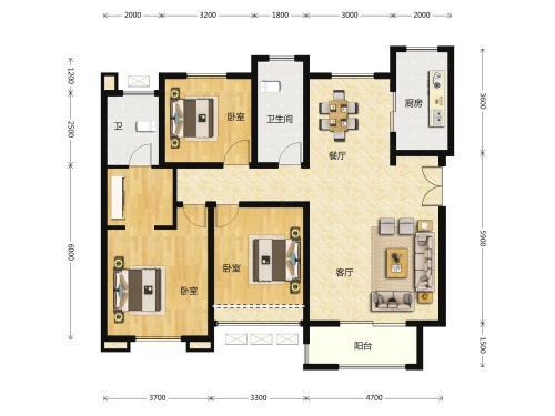 北纬37°康旅示范小镇3室2厅2卫,B户型 三室两厅双卫