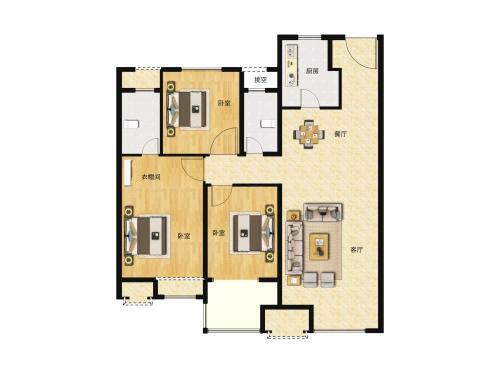 中骏雍景府3室2厅2卫,113平户型